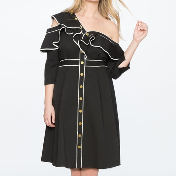 NWT Asymmetric One Shoulder Ruffle Dress Eloquii